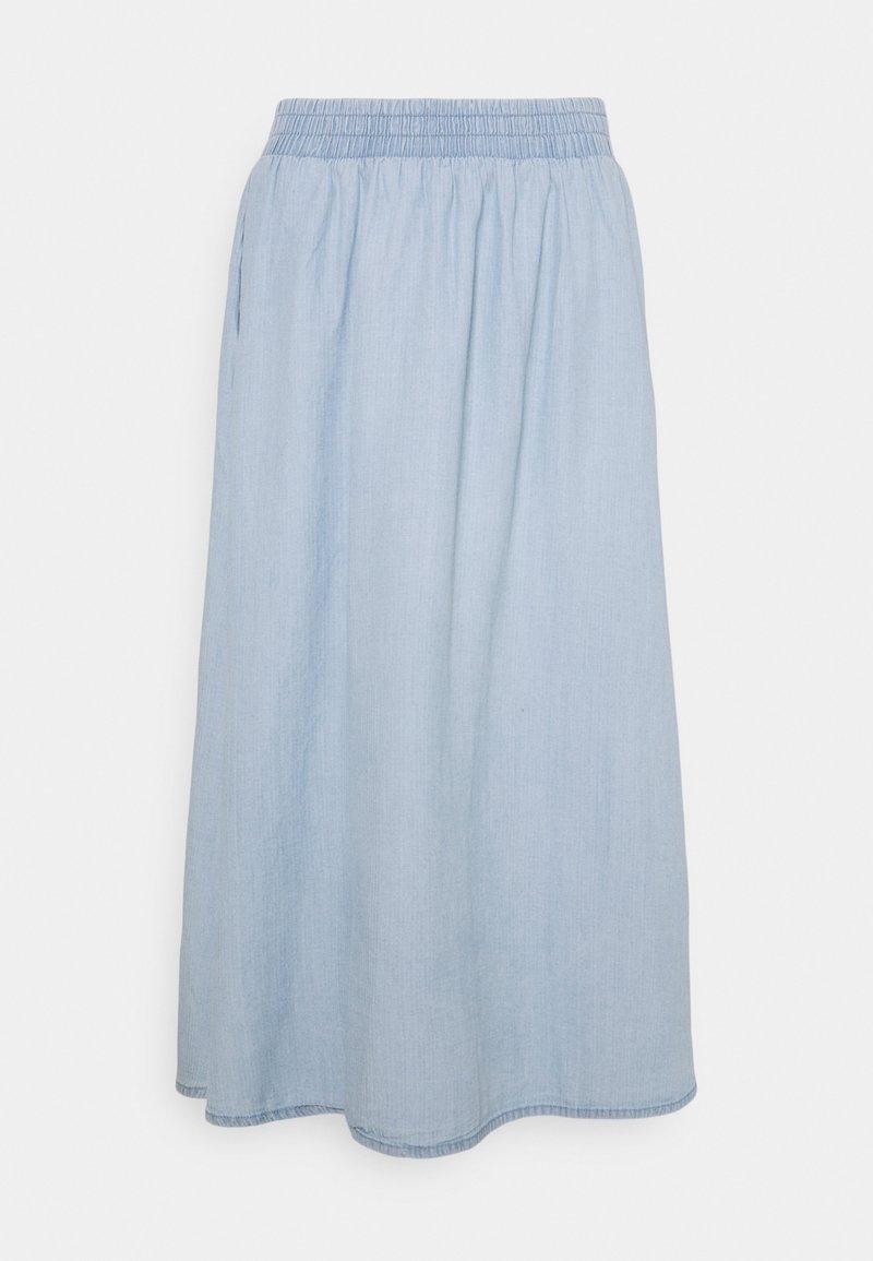 Pieces - PCGEYA MIDI SKIRT - Spódnica jeansowa - light blue denim