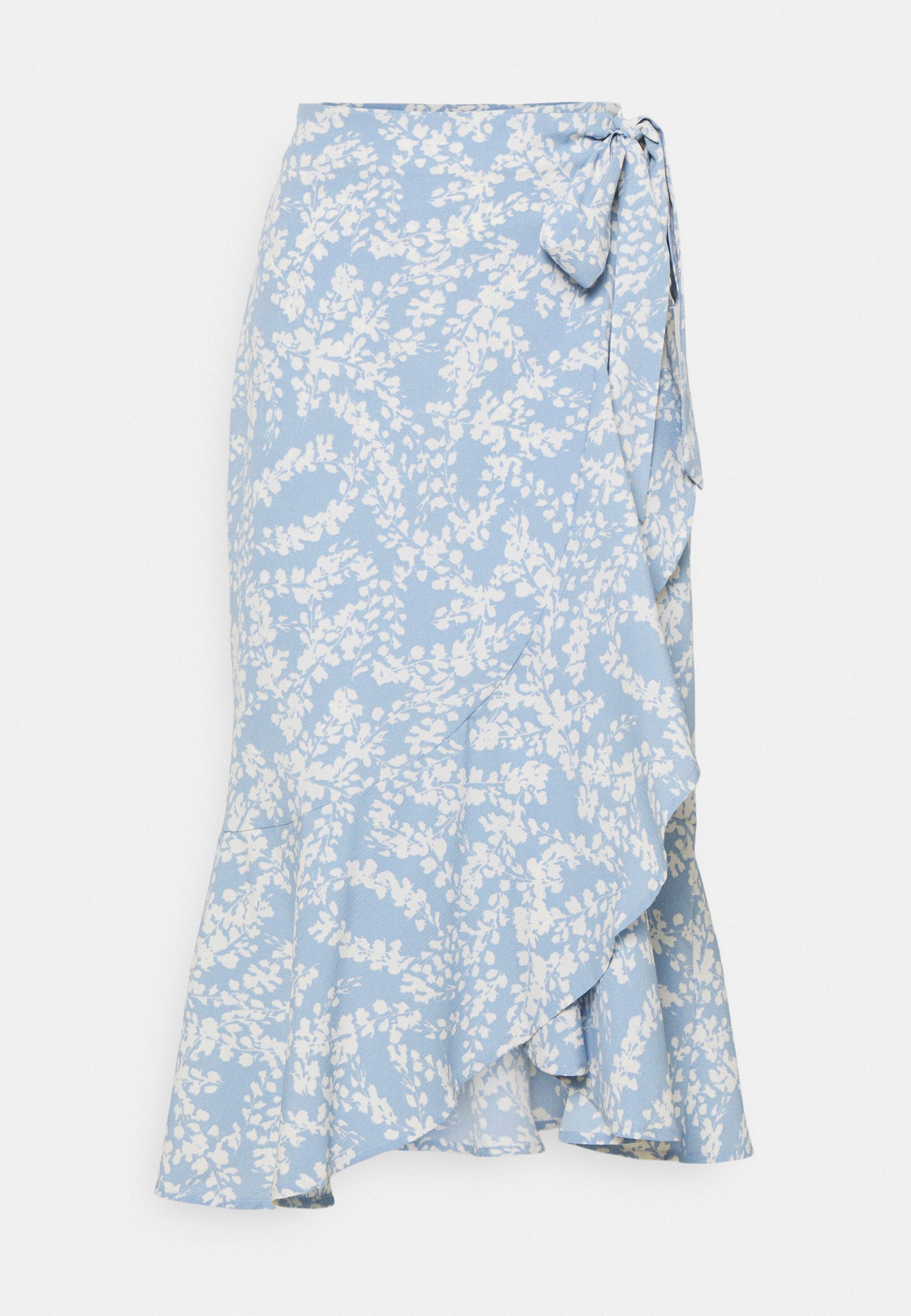 Femme FRANIE WRAP SKIRT - Jupe portefeuille - blue