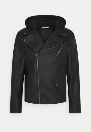HOODED BIKE JACKET - Imiteret læderjakke - black