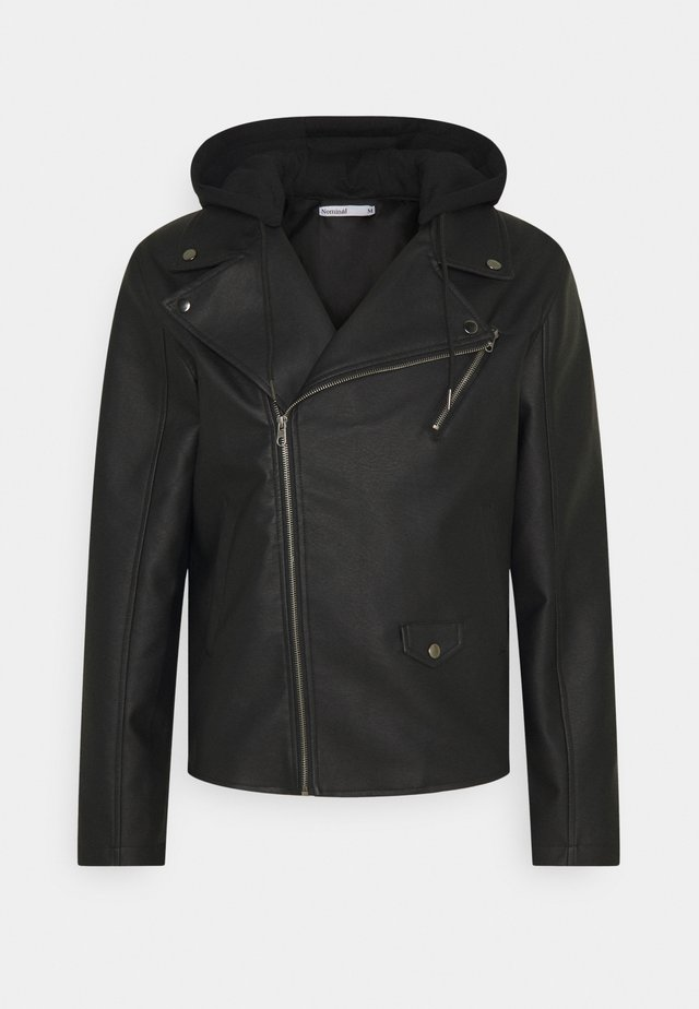 HOODED BIKE JACKET - Giacca in similpelle - black