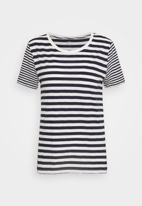 VINTAGE CREWNECK MIXED STRIPE - Print T-shirt - navy/ivory