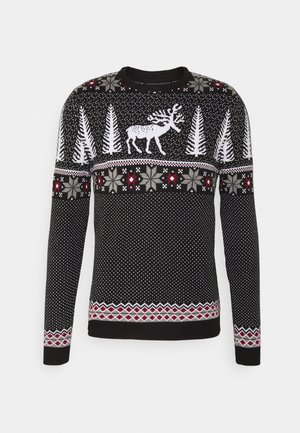 WINTERY CHRISTMAS JUMPER  - Stickad tröja - black