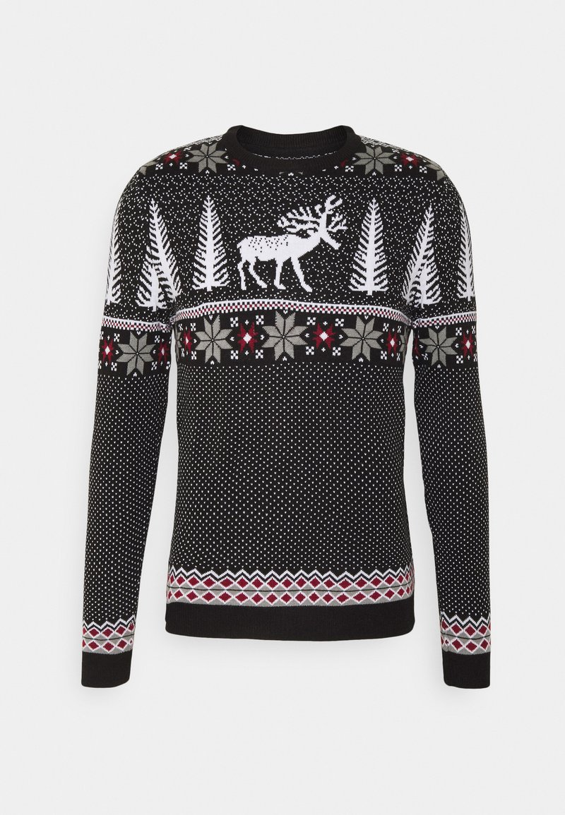 Pier One - WINTERY CHRISTMAS JUMPER  - Stickad tröja - black