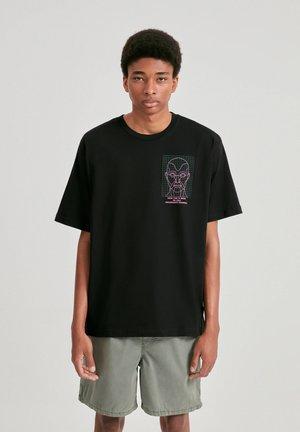 Print T-shirt - mottled black