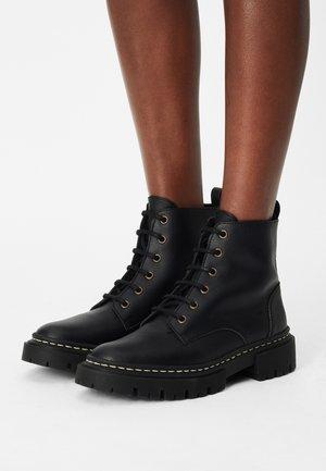 LANDY VEGAN MICRO - Lace-up ankle boots - black