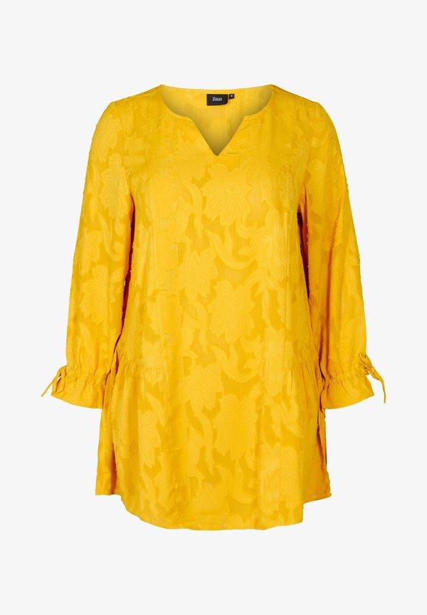 Zizzi WITH V-NECK - Tunika - yellow/żÓłty TGAP