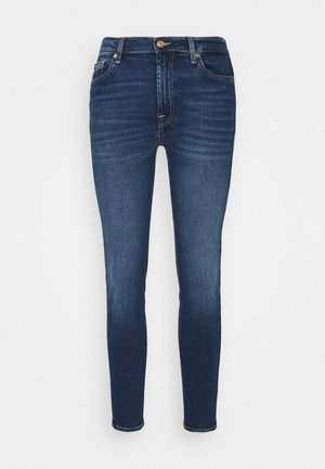 HIGH WAIST CROP - Jeansy Skinny Fit - mid blue