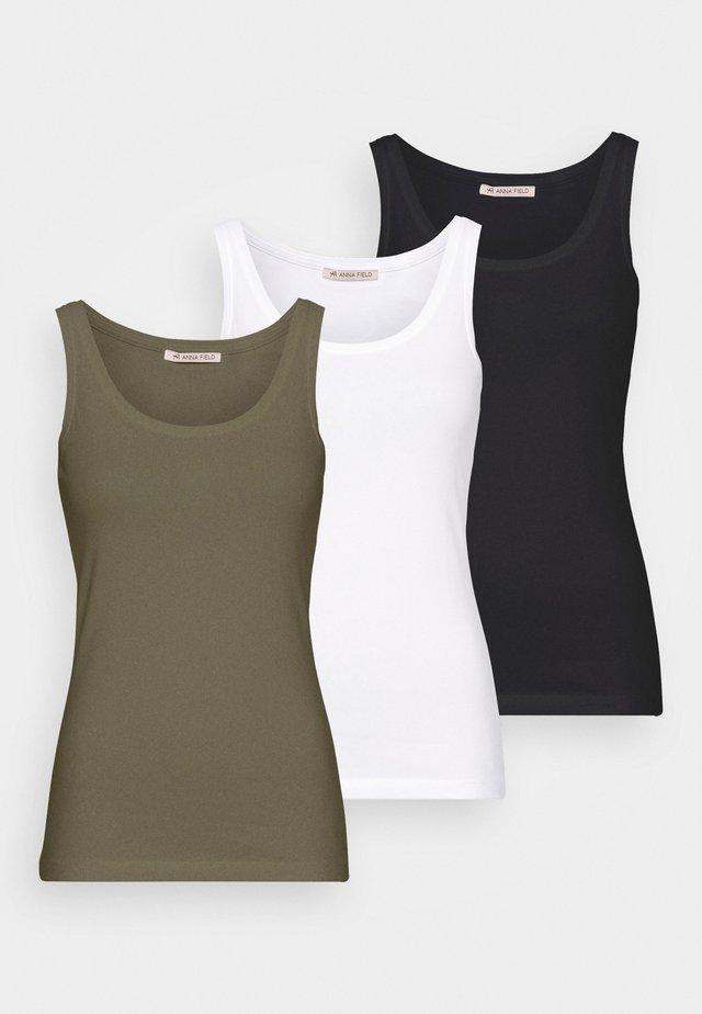 3 PACK - Débardeur - black/white /khaki