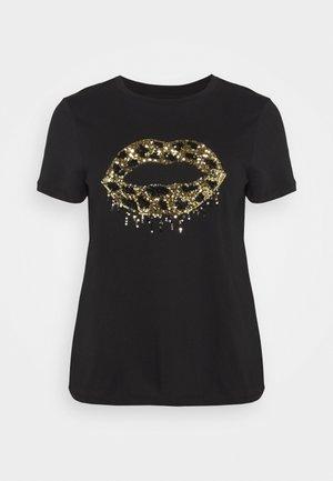SEQUIN LIPS - Print T-shirt - black