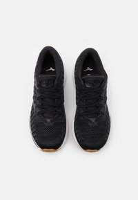 Mizuno - WAVE RIDER 24 WAVEKNIT - Zapatillas de running neutras - black/dark shadow/biscuit - 3