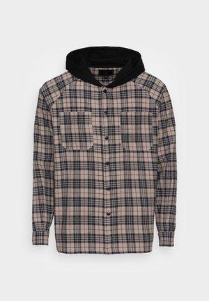 HOODED SHIRT - Shirt - beige/black