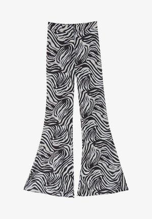 ZEBRAMUSTER - Spodnie materiałowe - black