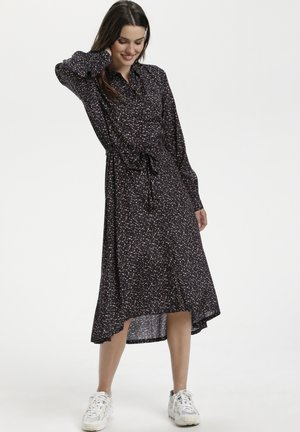 KAMIMMI - Shirt dress - black w. brown grafical dot