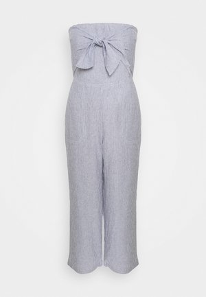 BOW FRONT - Jumpsuit - blue/white