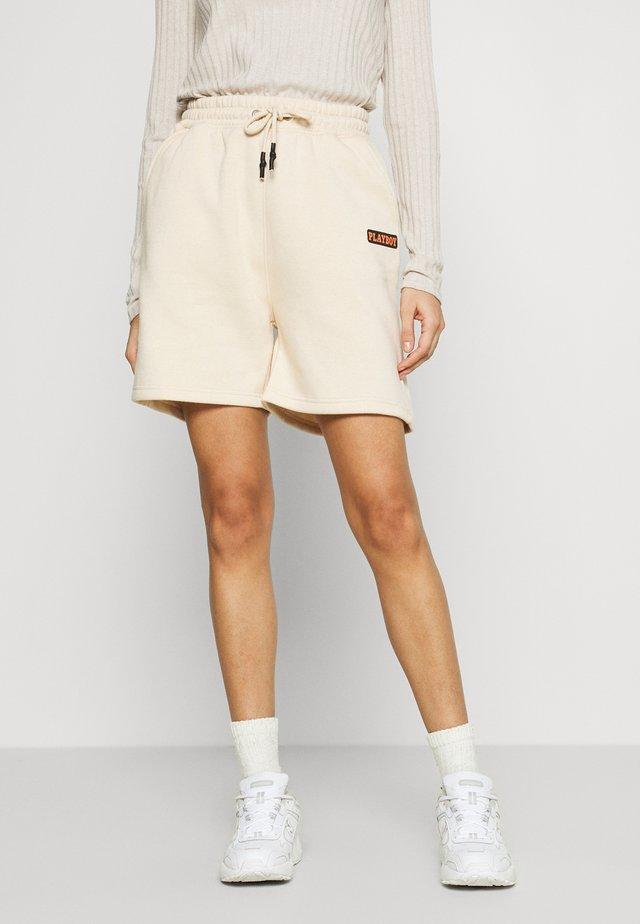PLAYBOY ELASTICATED SHORTS - Shorts - beige