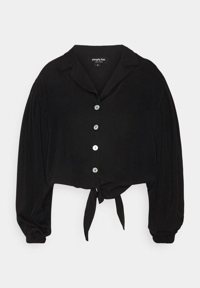 TIE FRONT BUTTON THROUGH BLOUSE - Camisa - black