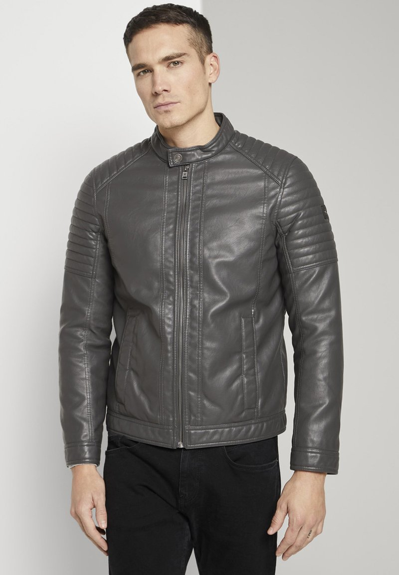 TOM TAILOR - Faux leather jacket - stone grey fake leather