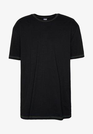 HEAVY OVERSIZED CONTRAST STITCH TEE - T-shirt imprimé - black/neongreen
