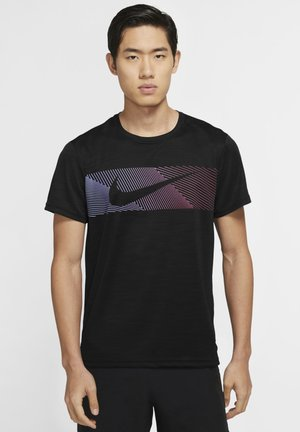 Print T-shirt - black/black/white