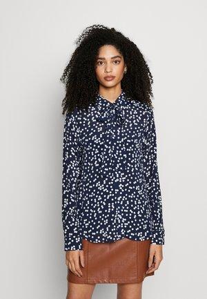 Button-down blouse - navy blazer