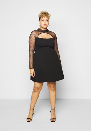 DOBBY LONG SLEEVE DRESS - Cocktail dress / Party dress - black