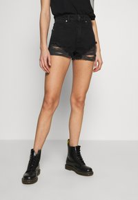 Abrand Jeans - A HIGH RELAXED SHORT - Denim shorts - black salt - 0