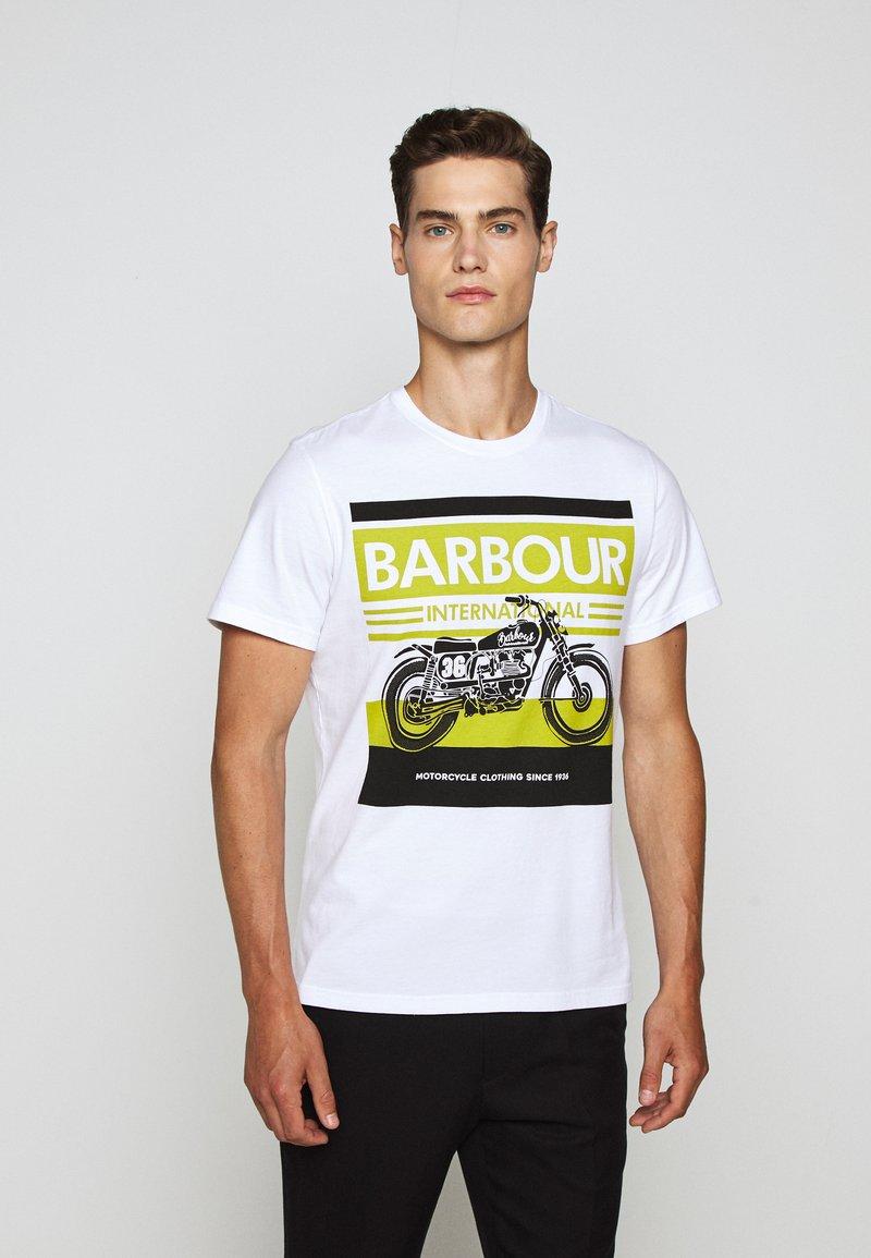 Barbour International - BURN TEE - Print T-shirt - white