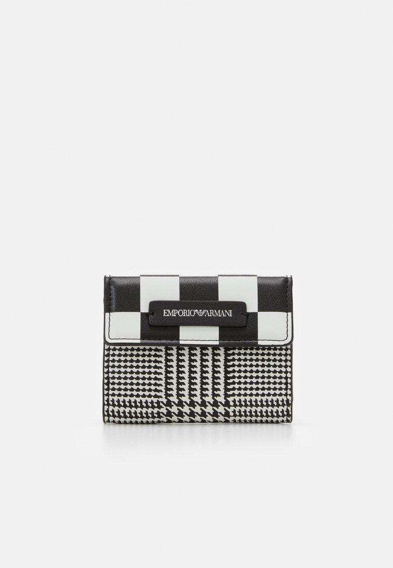 Emporio Armani - FLO CHECK WOMEN'S TRIFOLD WALLET - Wallet - black/off white