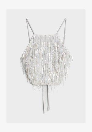 MIT PAILLETTEN UND FRANSEN  - Bluse - silver