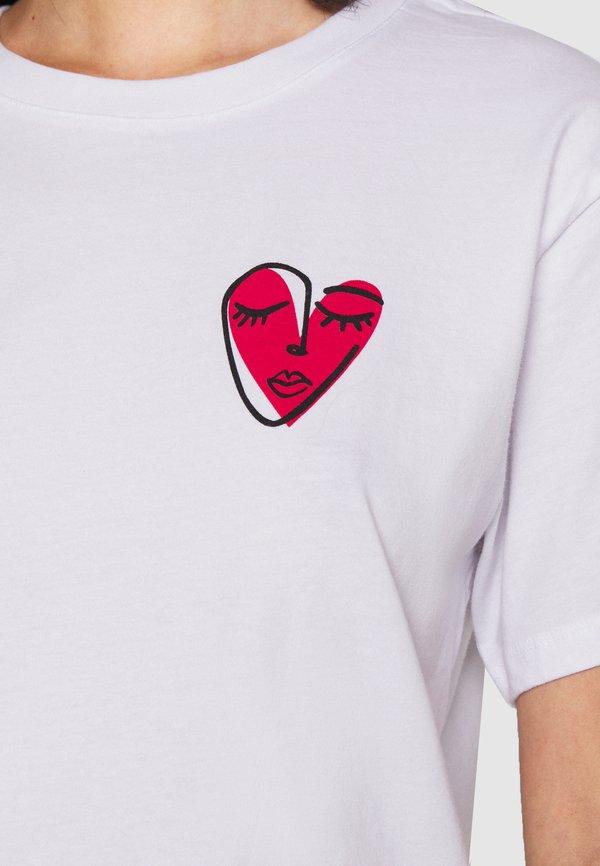 Even&Odd T-shirt z nadrukiem - white Nadruk Odzież Damska WKKJ OH 5