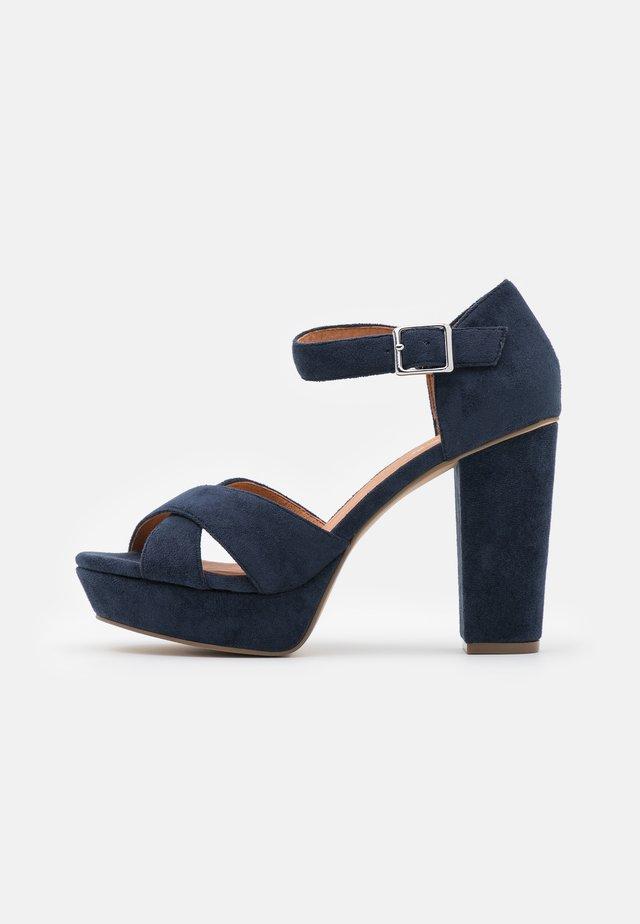 BIACARLY PLATEAU - High heeled sandals - navy blue