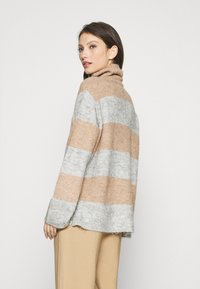 YAS - YASALLU STRIPE   - Jumper - light grey melange/tawny brown - 2