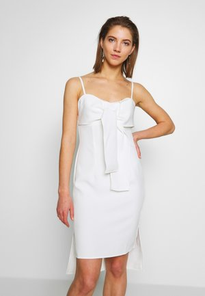 TIE BUST DETAIL BODYCON MIDI DRESS - Cocktail dress / Party dress - ivory