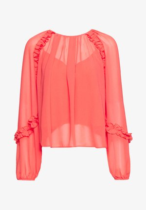 SHEER FRILL DETAIL - Blouse - red
