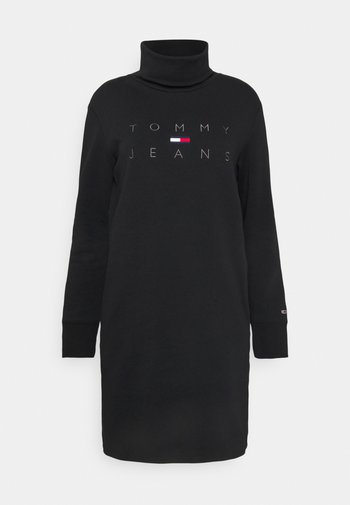MOCK NECK LOGO DRESS - Jersey dress - black