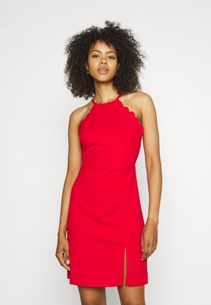 YELDA SCALLOP NECK DRESS - Sukienka koktajlowa - red