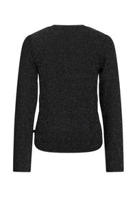 WE Fashion - MET GLITTERGAREN EN KNOOPDETAIL - Long sleeved top - black - 1