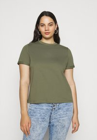 Pieces Curve - PCRIA FOLD UP SOLID TEE - Jednoduché triko - deep lichen green - 0