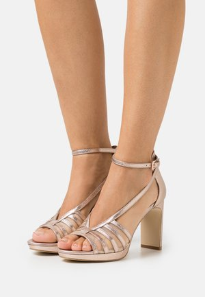 LEATHER - High heeled sandals - rose gold