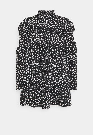 HIGH NECK PUFFSMOCK DRESS  - Day dress - black