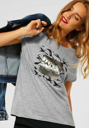 MIT WORDING - Print T-shirt - grau