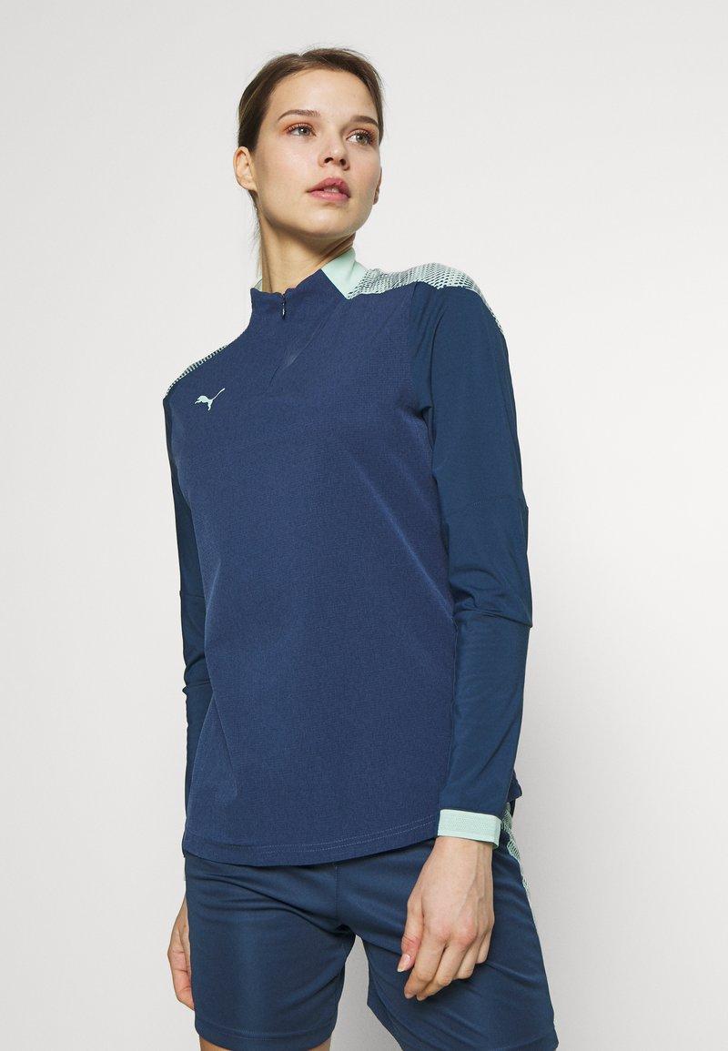 Puma - FTBLNXT 1/4 ZIP - Sports shirt - dark denim/mist green