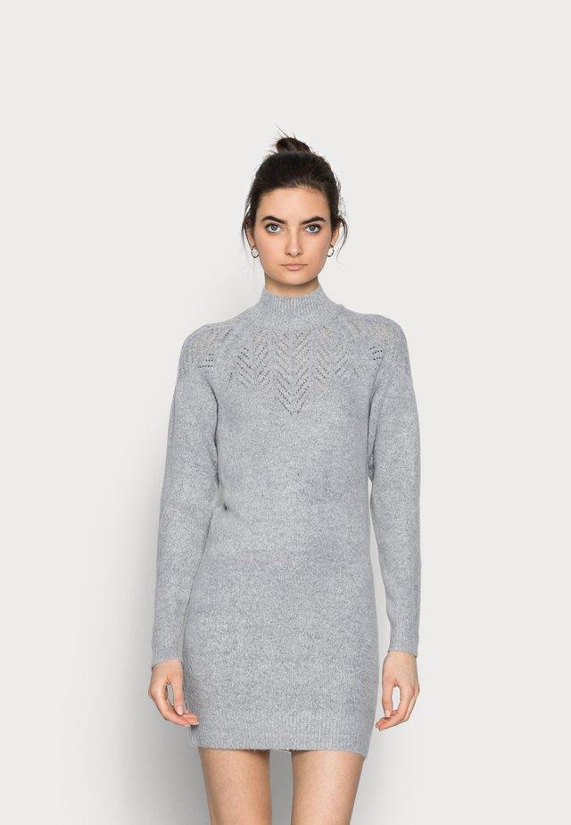 LONGLINE POINTELLE - Jumper dress - grey marl