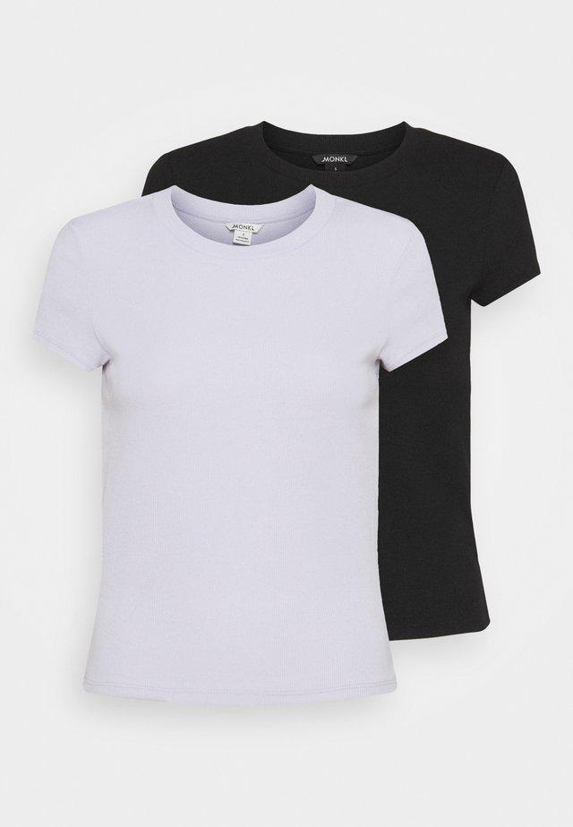 MAGDALENA TEE 2 PACK - Triko spotiskem - black dark solid/lilac