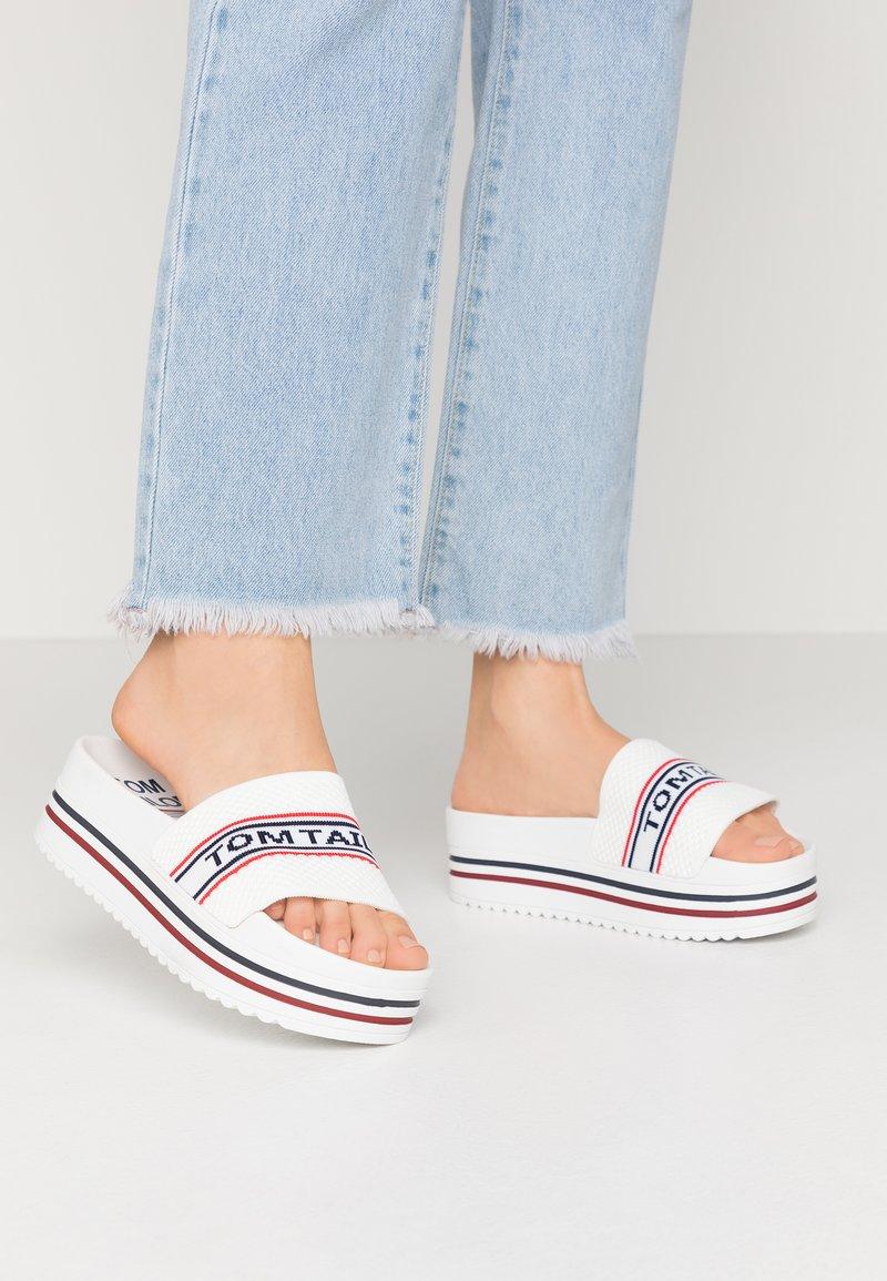 TOM TAILOR - Pantofle na podpatku - white