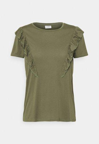 JDYKAREN FROSTY FRILL - Print T-shirt - kalamata