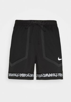STRIDE - Sports shorts - black/dk smoke grey/reflective silver