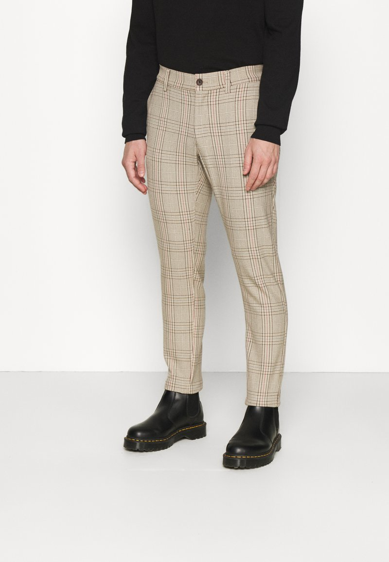 Only & Sons - ONSMARK PANT CHECK - Tygbyxor - chinchilla