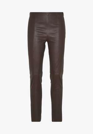 BROOKLYN LUXURY ROCKSTAR PANTS - Leather trousers - coffee