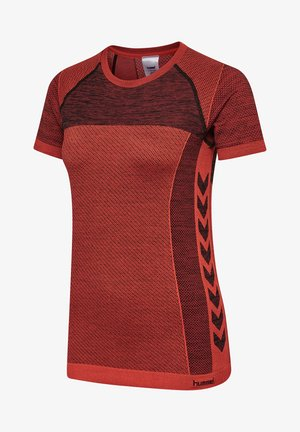 HMLCLEA SEAMLESS - Print T-shirt - chili melange